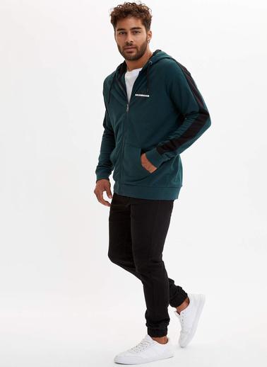 DeFacto Kapüşonlu Sweatshirt Yeşil